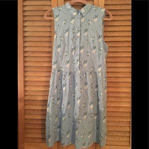 Blue floral button up sun dress